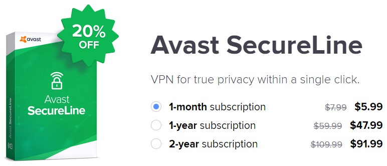 Avast SecureLine VPN 20% Discount